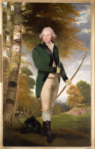 A full-length portrait of a standing male in a lanscape setting. To the left of the composition stands a pair of birches near the figure; to the right, the landscape opens up to a distant expanse of trees and hills. The man stands facing to the right but looking out of the canvas to the left. He holds a bow and quiver of arrows; a black hat with a feather is on the ground at his feet. He is dressed in tan pants and waistcoat with a green frock coat and black boots.
