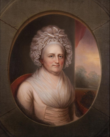 Bust-length portrait of a woman with grey hair in a cream colored dress seated in a red chair with a view of the landscape to right of figure seen through an illusionistic stone oval window or oculus.